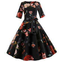 2019 Best Selling Women's Retro Print Round Neck Tie Print Sleeves Hepburn Style Dress Empire O-Neck Knee-Length Vintage frilled tie neck mixed print dress