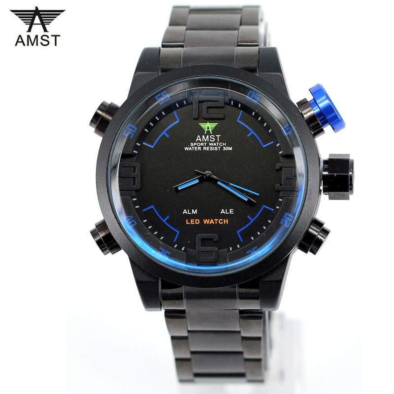 Watches Men Luxury Brand AMST LED Watch Sports Military Watch Quartz Watch Men Wristwatch Relogio Masculino 2017 Clock Hour Time new listing men watch luxury brand watches quartz clock fashion leather belts watch cheap sports wristwatch relogio male gift