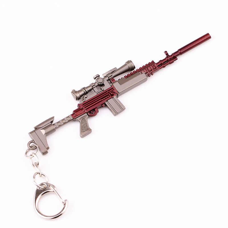 2019 Popular New Hot PUBG FPS Game Player de Campos de Batalha do Desconhecido 3D comer frango jogo de arma Chaveiro da chave do carro cadeia