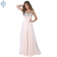 Ameision Elegant Evening Dresses Long A-Line Sleeveless Sequined Sexy Backless Party Pink Formal Robe de Soiree