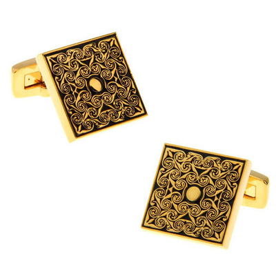 WN Brand New Fashion Men's French Shirt Cuff Button Gold Square Hand Carved Rose Pattern Cufflinks