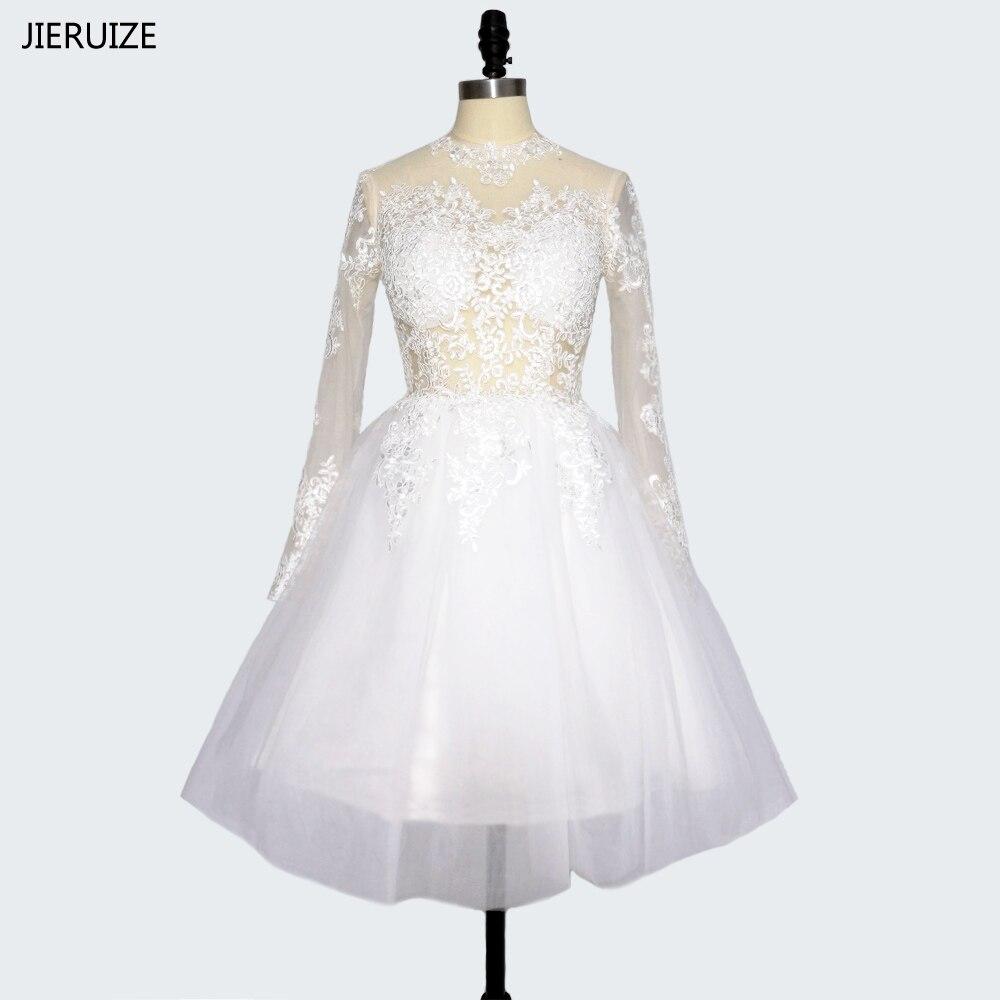 JIERUIZE robe de mariee Baltas mežģīņu aplikācijas Īsās kāzu kleitas 2017 Augsta kakla garām piedurknēm kāzu kleitas vestido de novia