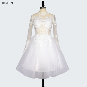 JIERUIZE robe de mariee White Lace Appliques Short Wedding Dresses 2017 High neck Long Sleeves Wedding Gowns vestido de novia