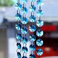 Aquamarine Garland Strand Glass Crystal Beads Wedding Decoration Crystal Hanging Party Supplies For Home Wedding Decor