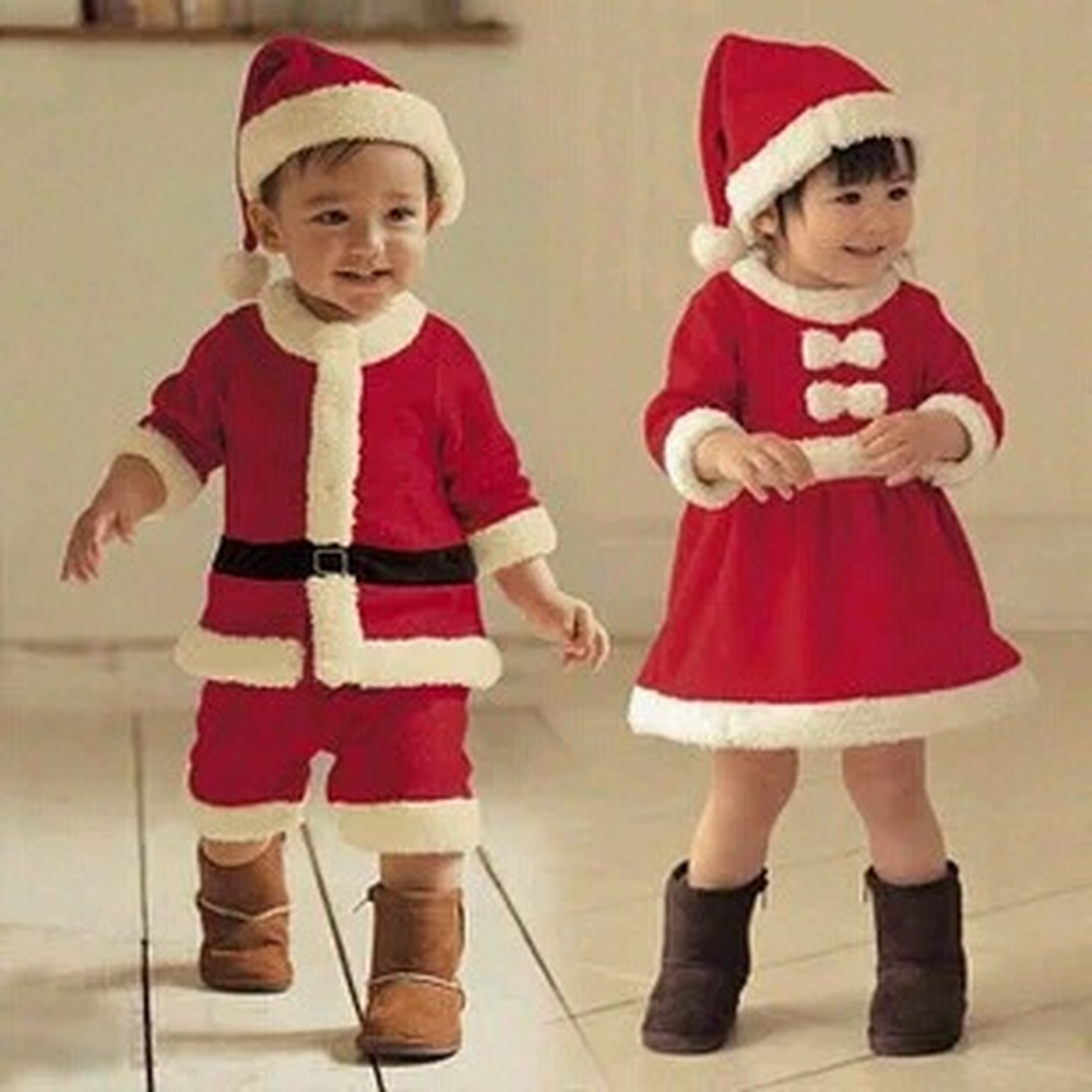 Baby Boys Girls Clothing Set Winter Child Christmas Costume 2018 New Red Dresses+red Hat 2pcs Set Warm Clothes
