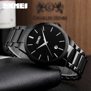 Image 2 - SKMEI luksusowe zegarki biznesowe męskie Ultra cienkie zegarki kwarcowe 5Bar wodoodporny minimalistyczny stal nierdzewna stalowy pasek Reloj Hombre