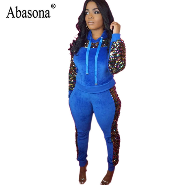 ec9e8d9679 Abasona Women 2 Piece Sets Sequin Jumpsuit Club Wear Outfits Bodycon Romper  Long Sleeve Hooded Jumpsuit Autumn Women Sport Suit