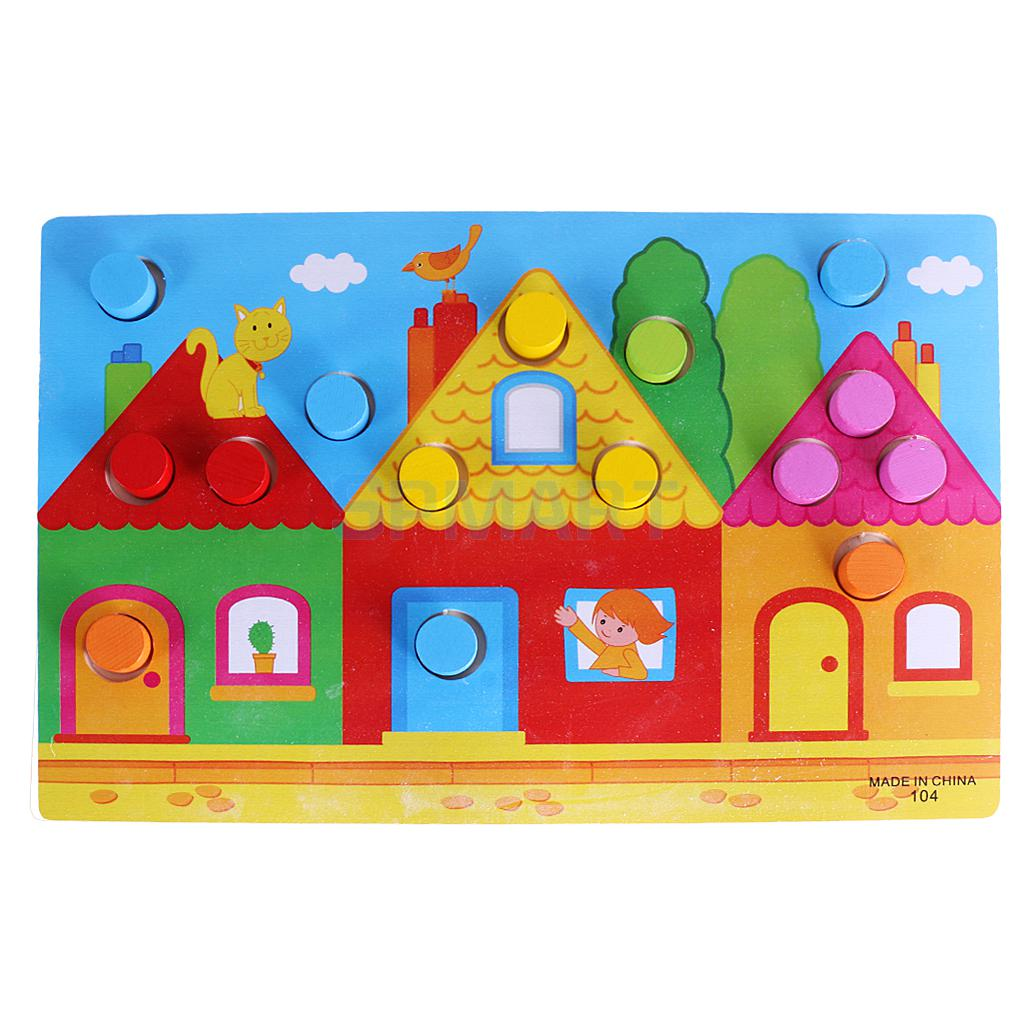 Wooden color matching puzzle - Matching wood pieces of different colors ...
