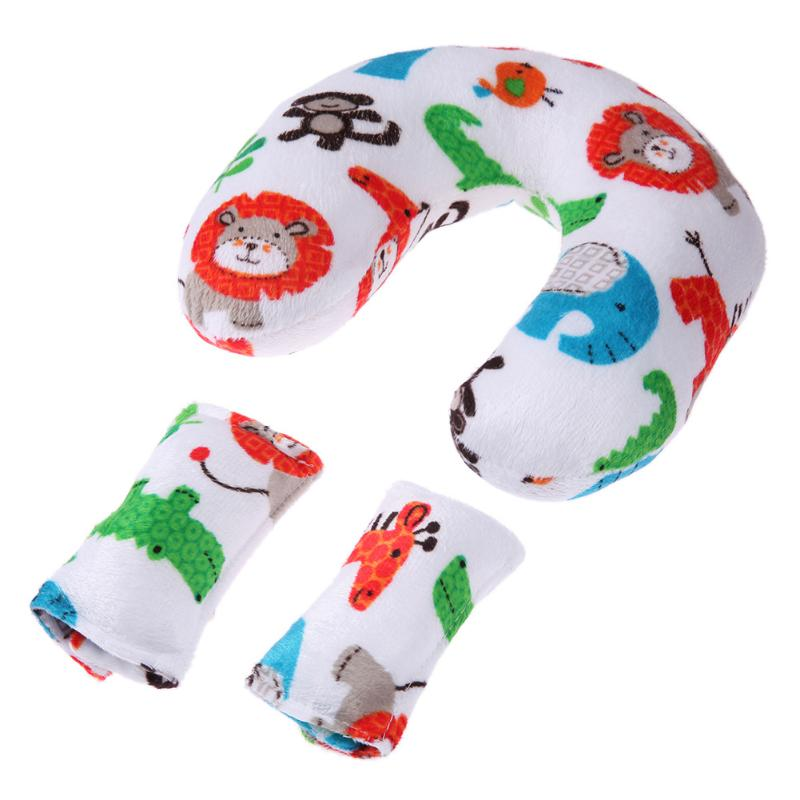 Soft Baby Safety U-shaped Pillow With Protective Cover Car Seat Stroller Pillow Cartoon Short Plush Infant Head Neck Support Strollers Accessories