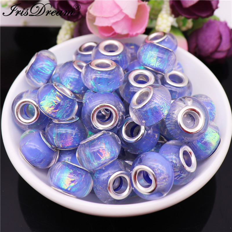 10Pcs/Lot Wholesale Glitter Big Hole DIY Spacer Beads for Jewelry Making Bead fit Pandora Charm Bracelet Snake Chain Necklace(China)