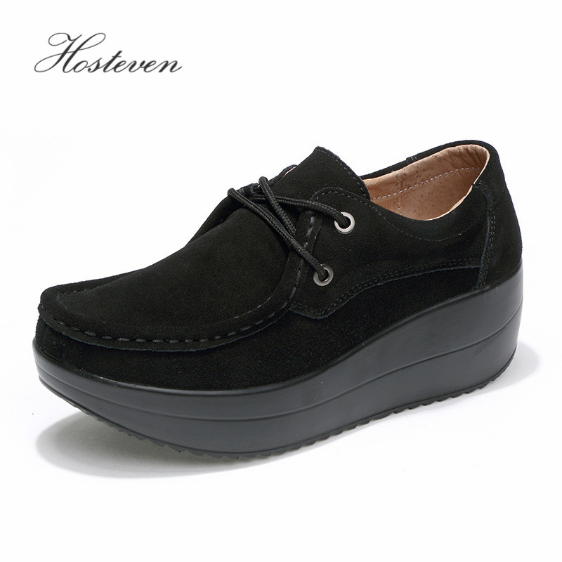 Hosteven Women 39 s Shoes Flat Platform Female Shoe Woman Shoes Cow Suede Leather Spring Autumn Women 39 s Loafers Moccasins in Women 39 s Flats from Shoes