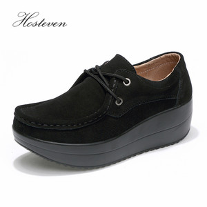 Image 5 - Hosteven Womens Shoes Flat Platform Female Shoe Woman Shoes Cow Suede Leather Spring Autumn Womens Loafers Moccasins
