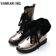 brand fashion faux fur winter snow boots women ankle boots warm shoes high quality flat round toe platform casual shoes woman цены