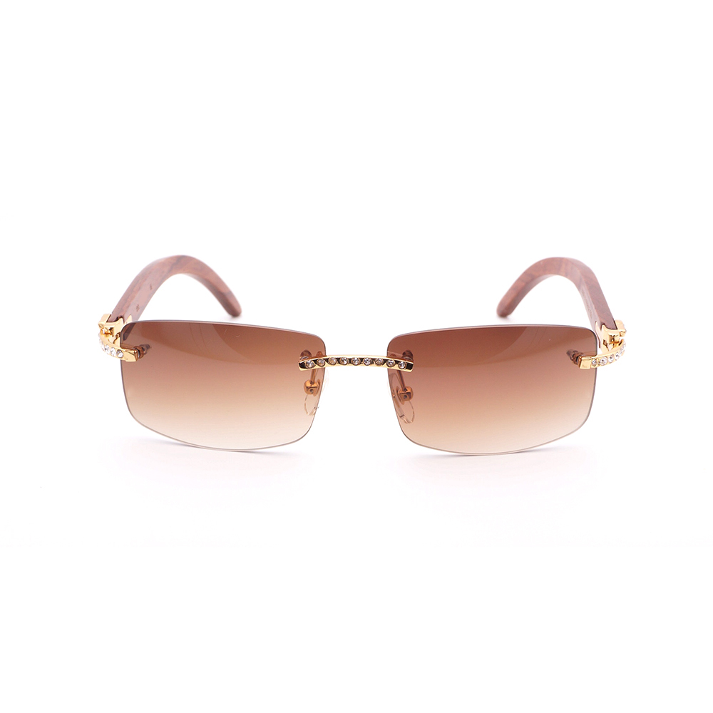 bfa2b31c9e0bb Rhinestone Rimless Sunglasses Men with Stone Black Wood Sunglasses ...