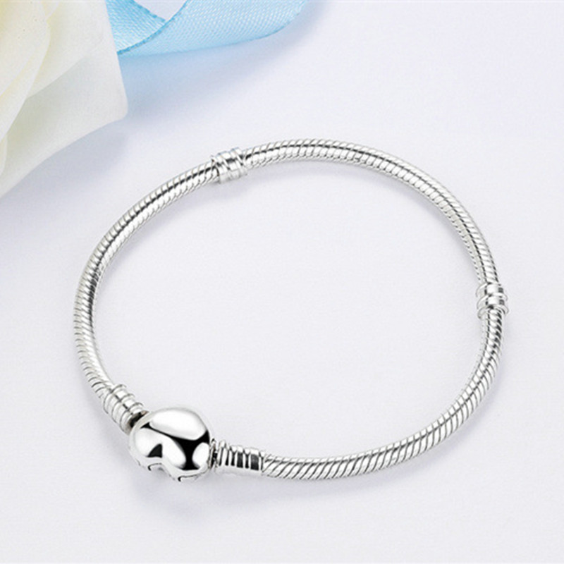3mm Silver Heart Bracelets for Women men Chain Diy jewlery Fit Original beads  bracelets & bangles Jewelry Pulseira Gift