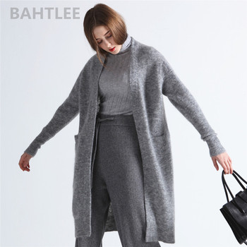 цены BAHTLEE spring autumn Women's Mohair Cardigan sweater Blended Knitted Solid Long Sleeves wool Coat Casual Lazy Style
