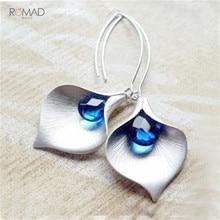 цена на Romad New Trendy Zircon Leaf Earrings Blue Crystal Drop Earrings For Women Girl Birthday Gifts