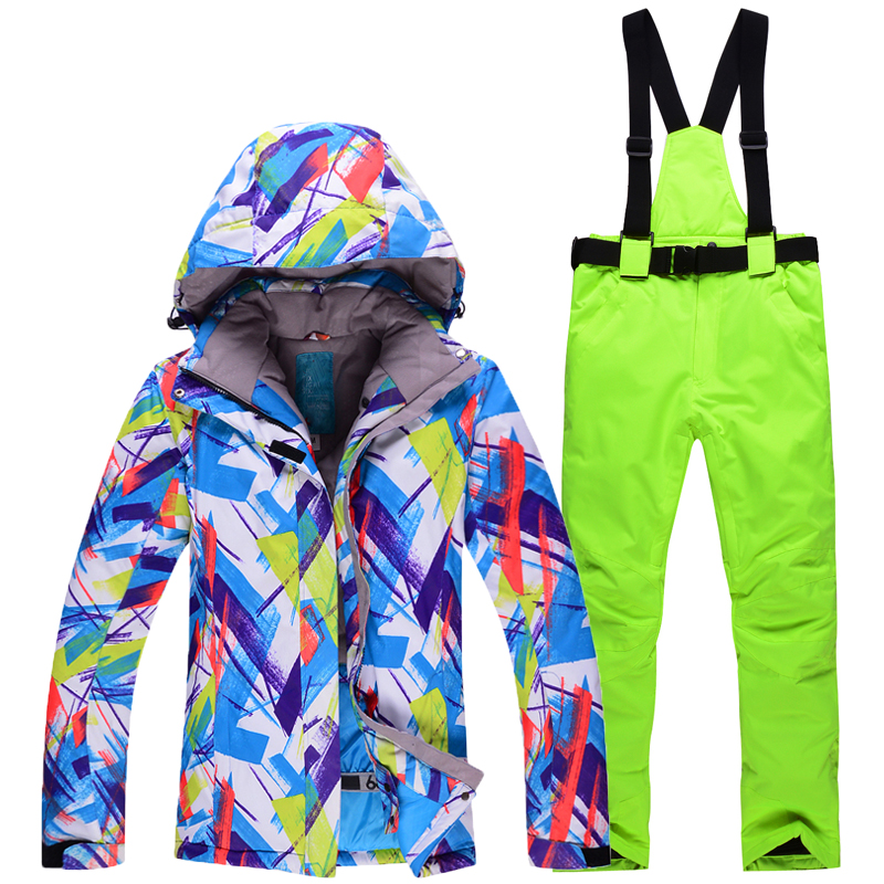 цены  cheap woman Snow jacket Girl snowboarding suit Waterproof Warm single Skiing winter outdoor ski suit sets jackets + pants cloth
