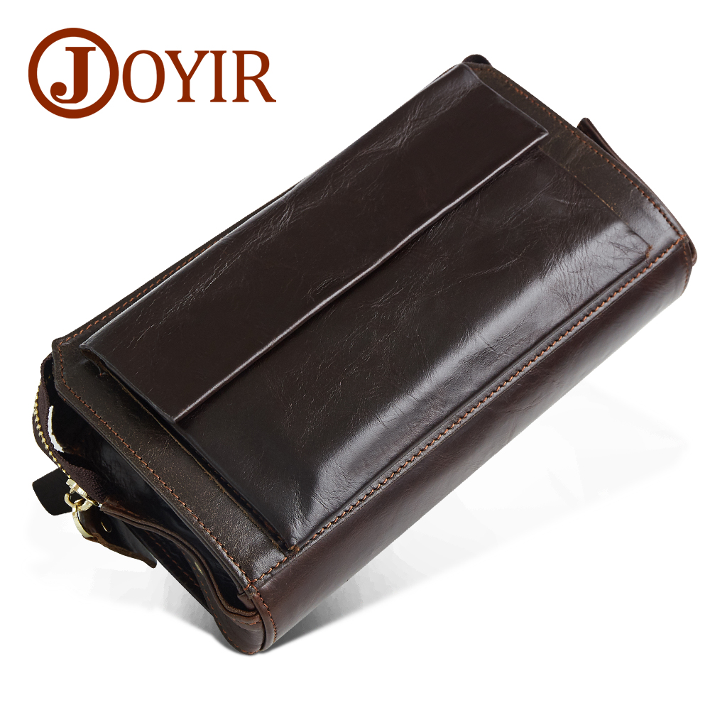 JOYIR Genuine Leather Men Wallets Purse Men Fashion Zipper Clutch Wallet large Capacity Men Purses Wallets