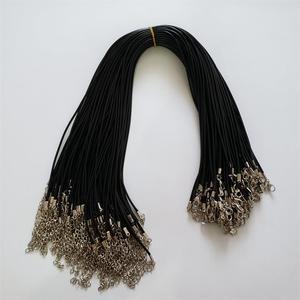 Image 5 - Hurtownie 100 sztuk/partia 2mm czarny wosk Leather cord rope naszyjniki 45cm z zapięciem Lobster smycz wisiorek liny dla diy biżuteria