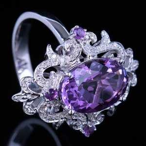 Image 4 - Женское кольцо из серебра 925 пробы с овальным аметистом 100% карата