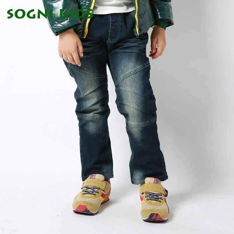 SOGNI KIDS New Winter Children Trousers Elastic Waist Demin Pants For Boys Plus Velvet Warm Kids