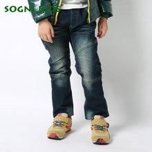 SOGNI KIDS New Winter Children Trousers Elastic Waist DenimPants For Boys Plus Velvet Warm Kids Trousers