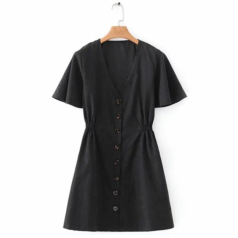 Femmes été robe noire col en v à manches courtes taille élastique haute femmes robes courtes robes décontracté