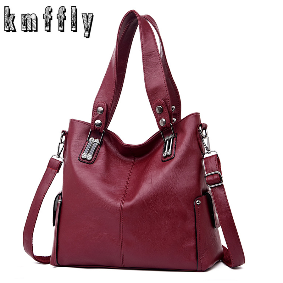 New Fashion Women Leather Handbags Female Leather Shoulder Crossbody Bag Ladies Large Bucket Tote Bag Black/Red Sac A Main