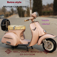 Hot sale Pink blue Vespa vintage 1955 Italy old car metal toy two wheel motorcycle 1:12 model motor for bjd doll shooting