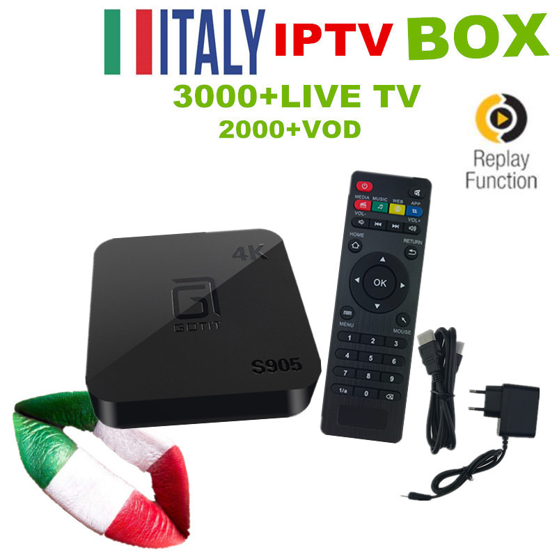 Italy Android 6.0 TV Box S905 Media Player With 3000+ IPTV Italy Albania Germny Free IPTV Kodi Preloaded TB box Smart IPTV Box