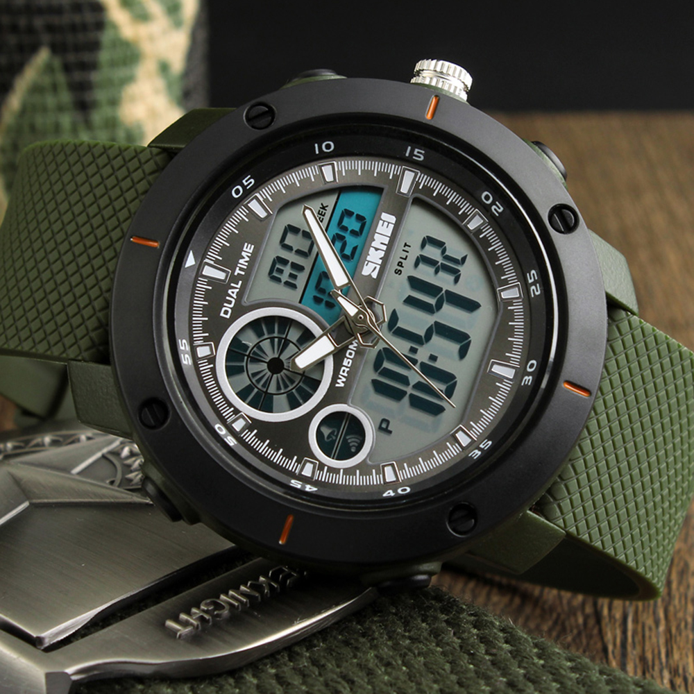 <font><b>SKMEI</b></font> <font><b>1361</b></font> Men Sports Watches EL Light Double Time Watch Alarm Chrono Digital Waterproof Wristwatches saat Relogio Masculino image