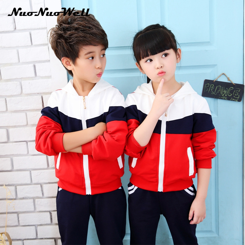 NNW Autumn Kids School Uniform 4-18T Girls Boys Clothing Sets Zipper Coat+pants Sport Suit For Teenagers Splice Kids Tracksuit retail 2pcs brand new design girls clothing sets for kids autumn tracksuit for girls velvet jacket pants children sport suit