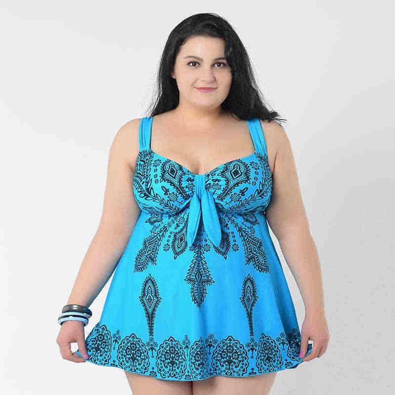d3dd6bc021 Plus Size Swimwear Women 2019 Floral One Piece Swimsuit For Fat Women Swim  Dress Skirt Bathing Suit Super Large 4XL 8XL Swimsuit