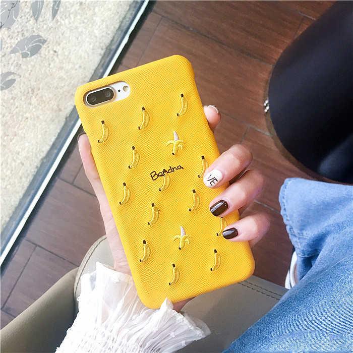 Вышивка фрукты Жесткий ПК Защита Чехол для iPhone 6 6s 7 Plus Bakc Телефон чехол для iphone 8 плюс половина крышка Striae милые конфеты