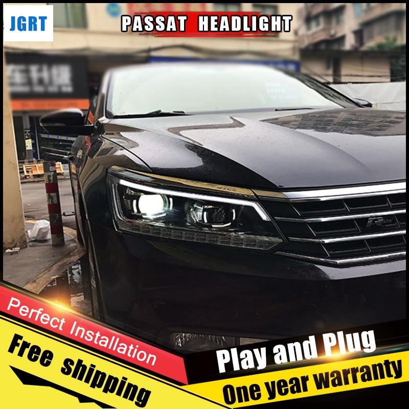 JGRT Car Style LED headlights for vw Passat 2011-2017  for Passat  head lamp LED DRL Lens Double Beam H7 HID Xenon bi xenon lens