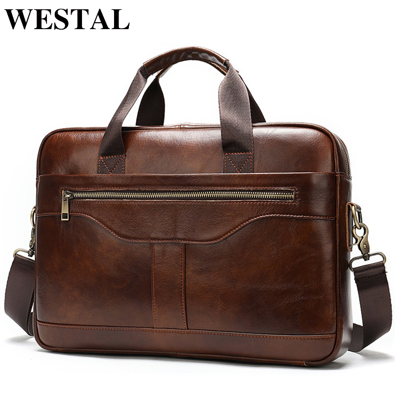 WESTAL messenger bag men briefcase men s genuine leather laptop bags office bags for men bussiness
