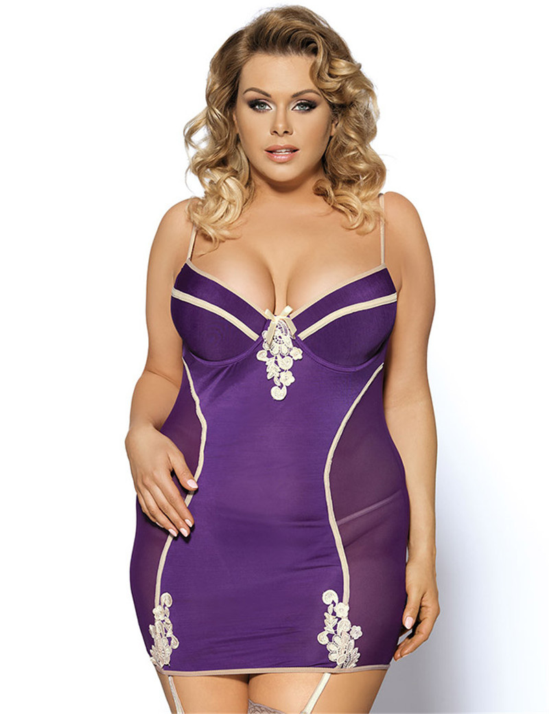 RL70113 Ohyeah Plus Size Sexy Lingerie Purple Strappy font b Sex b font Nightwear For WomenBest
