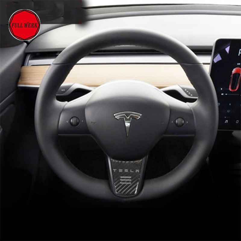 Car Styling Steering Wheel Sticker Cover Protector Special for Tesla Model 3 Steering Decoration Interior Moulding Accessories 1pc car center console armrest box sticker decal wrap guard protector cover for tesla model s model x auto interior accessories