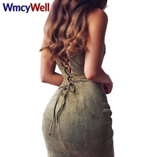 WmcyWell Women's Dresses Series Spring Suede Fashion Hollow Out Summer Solid Spaghetti Strap Bandage Bodycon Cocktail Midi Dress