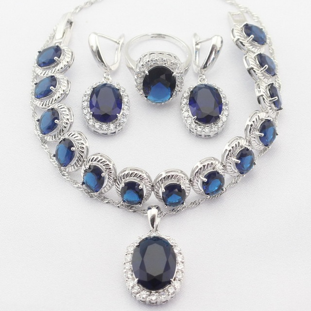 Round Silver Plated Necklace Pendant Earrings Rings bracelet  Blue Created Sapphire Women Jewelry Sets Christmas&Halloween Gift