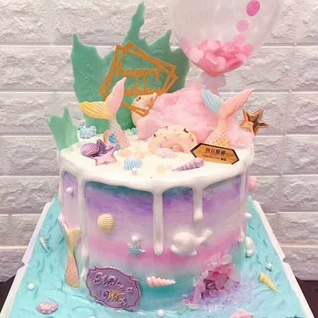 1pcs Glittering Mermaid Tail Cake Topper Under The Sea Ocean Theme