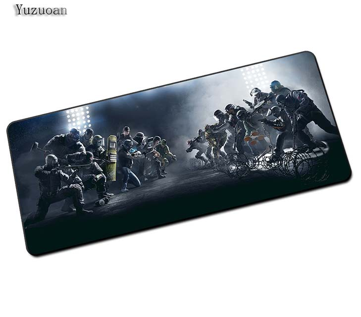 купить Yuzuoan Rainbow Six Mouse Pad pad to Mouse Notbook Computer Mousepad Overlock Edge Big Gaming Pad For CSGO LOL DOTA2 WOT Gamer онлайн