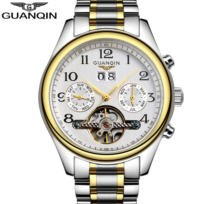 ФОТО relogio masculino Famous Brand GUANQIN Automatic Self-Wind Men Sport Watch Mens Tourbillon Date Waterproof Full Steel Wristwatch