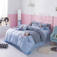 kid bedding set queen size 800Tc washed cotton comforter cover gray animal embroidered luxury bedroom home decor bed sheet set