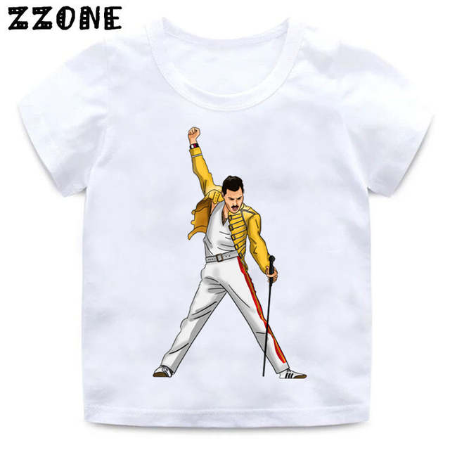 9cec34406 placeholder Boys and Girls FREDDIE MERCURY Rock Band Queen Print T shirt  Kids Funny Clothes Enfant Summer