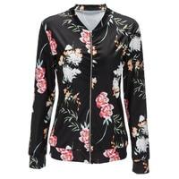 Jacket Women Black O Neck Bomber Jacket 2018 Print Floral Black Coat Casual Zipper Basic Outerwear Coats Jackets Plus Size