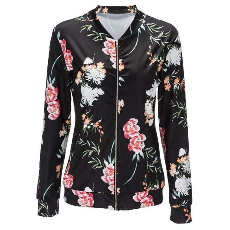 Buy Jacket Women Black O Neck Bomber Jacket 2017 Print Floral Black Coat Casual Zipper Basic Outerwear Coats Jackets Plus Size for $8.74 in AliExpress store