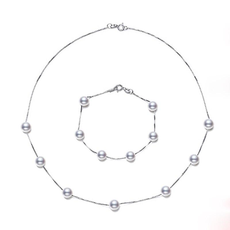 купить RUNZHUQIYUAN 2017 7-8 mm 100% Natural Freshwater Pearl Jewelry Set For Women Bracelet and Necklace Set Gift 925 sterling silver по цене 3178.88 рублей