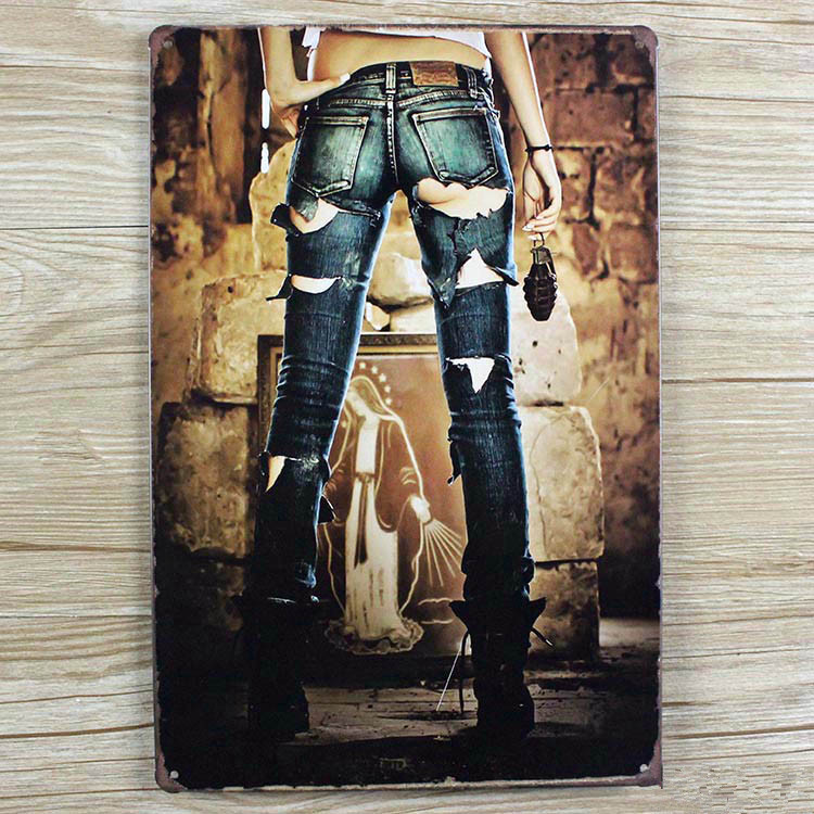 Free Shipping Ua 0213 Metal Tin Signs Sexy Lady Metal Vintage Painting Home Decor Wall